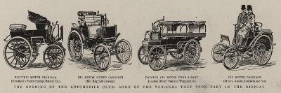The Opening of the Automobile Club, Some of the Vehicles That Took Park in the Display--Giclee Print