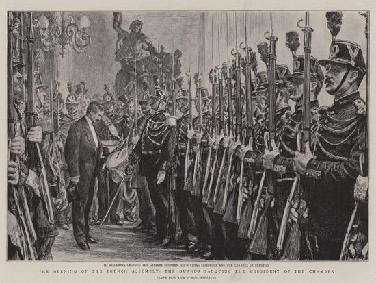 The Opening of the French Assembly, the Guards Saluting the President of the Chamber-Charles Paul Renouard-Giclee Print