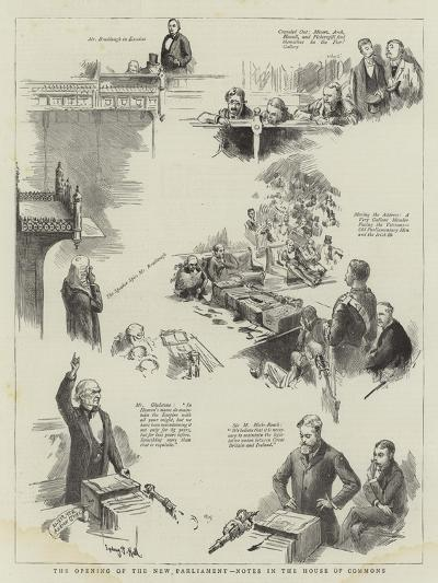 The Opening of the New Parliament, Notes in the House of Commons-Sydney Prior Hall-Giclee Print