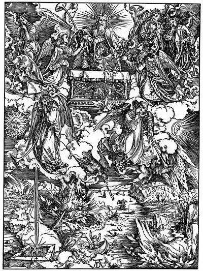 The Opening of the Seventh Seal, the Seven Angels with the Trumpets, 1498-Albrecht Durer-Giclee Print