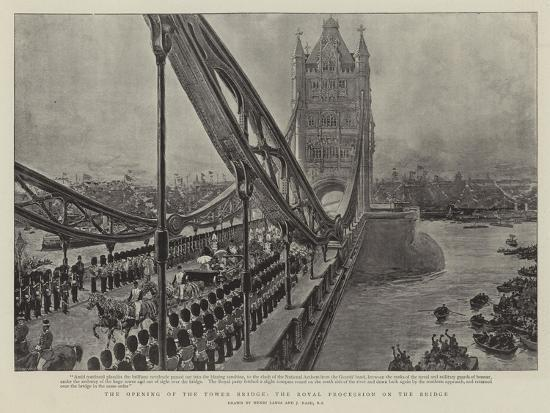 The Opening of the Tower Bridge, the Royal Procession on the Bridge-Henri Lanos-Giclee Print
