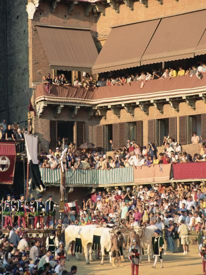 The Opening Parade of the Palio Horse Race, Siena, Tuscany, Italy, Europe-Upperhall Ltd-Photographic Print