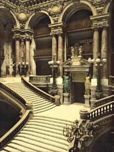 The Opera House, the grand staircase, Paris, France, c.1890-1900