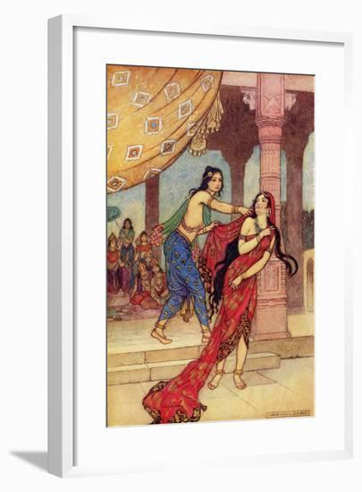 The Ordeal of Queen Draupadi-Warwick Goble-Framed Giclee Print