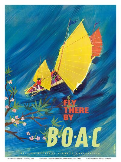 The Orient - Fly There By BOAC - Hong Kong Thailand Cambodia Asia-David Judd-Art Print
