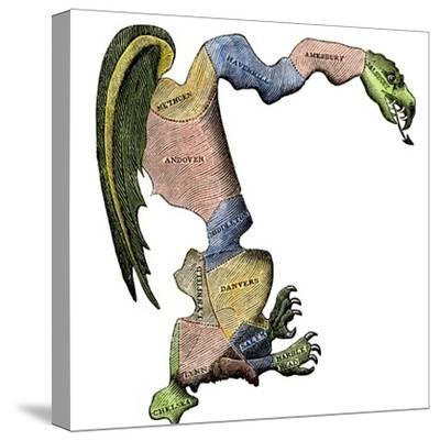 The Original Gerrymander - Massachusetts Towns Formed into a Salamander-Shaped District