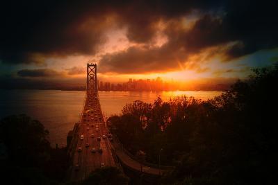 The Other Golden Bridge, Bay Bridge and Sun Burst, San Francisco-Vincent James-Photographic Print