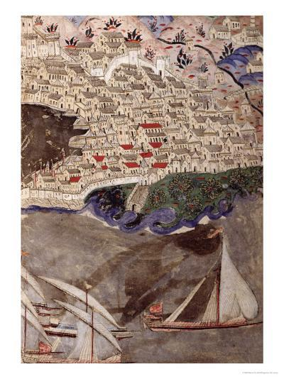 The Ottoman Fleet Blocking the Port of Marseille in 1454-Nasuh Al-silahi-Giclee Print