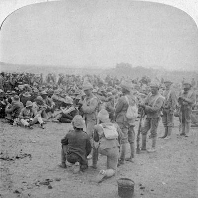 The Overpowered Boer Prisoners Resting on the Road from Paardeberg to Modder River, 1900-Underwood & Underwood-Giclee Print