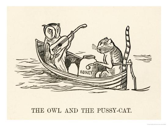 The Owl and the Pussy-Cat Went to Sea in a Beautiful Pea- Green Boat-Edward Lear-Giclee Print