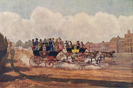 The Oxford and Opposition Coaches, 1906-W Flavell-Giclee Print