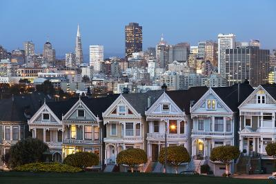 The Painted Ladies and the City at Dusk-Stuart-Photographic Print