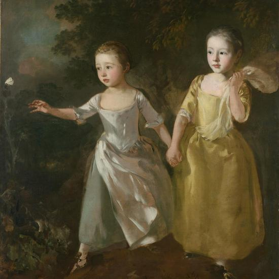 The Painter's Daughters Chasing a Butterfly, C.1759-Thomas Gainsborough-Giclee Print