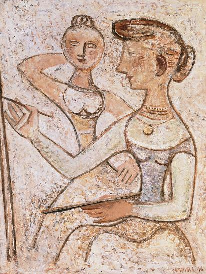 The Painter (With a Model)-Massimo Campigli-Giclee Print