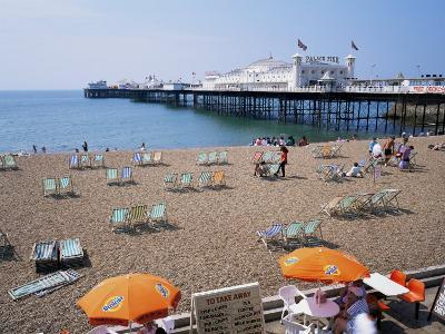 The Palace Pier and Beach, Brighton, Sussex, England, United Kingdom-Roy Rainford-Photographic Print