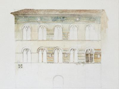 The Palazzo Gambacorti, Pisa, 27 - 30 April 1872 (Watercolour over Graphite on Wove Paper)-John Ruskin-Giclee Print