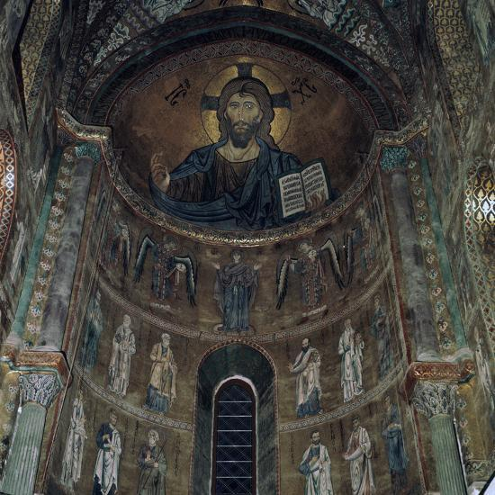 The Pantocrator Mosaic in Cefalo Cathedral, 12th century-Unknown-Photographic Print