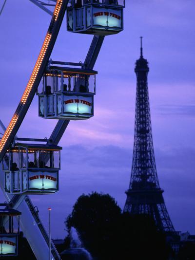 The Paris Ferris Wheel and Eiffel Tower, Paris, Ile-De-France, France-Doug McKinlay-Photographic Print