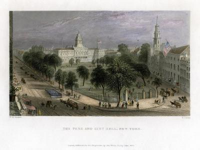 The Park and City Hall, New York, USA, 1838-S Lacey-Giclee Print