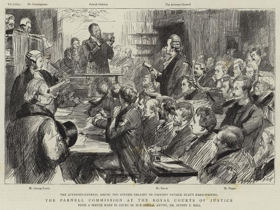 The Parnell Commission at the Royal Courts of Justice-Sydney Prior Hall-Giclee Print