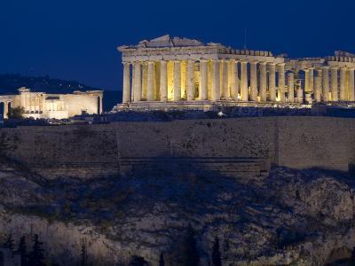The Parthenon and Erechtheion (Left) at Night-Richard Nowitz-Photographic Print