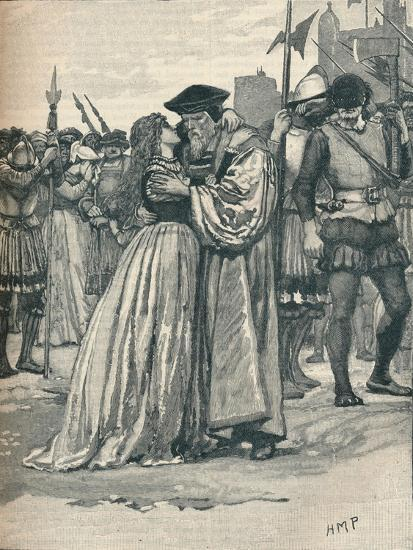 The parting of Sir Thomas More and his daughter, 1535 (1905)-Unknown-Giclee Print