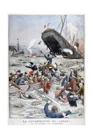 The Passenger Liner 'Liban' Sinking after Colliding with Another Ship, 1903--Giclee Print