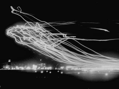 The Pattern Made by Landing Lights of Planes in 20 Minute Time Exposure at La Guardia Airport-Andreas Feininger-Photographic Print