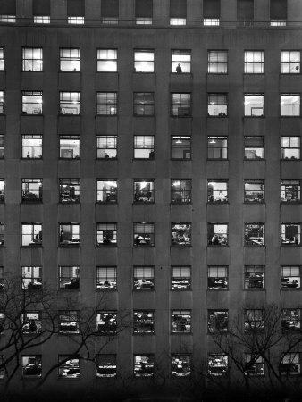 The Pattern of Lighted Office Windows in the RFC Building-Walter B. Lane-Photographic Print