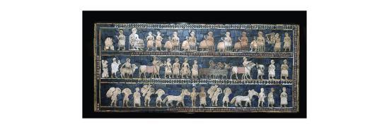 The 'Peace' side of the Standard of Ur, southern Iraq, about 2600-2400 BC. Artist: Unknown-Unknown-Giclee Print