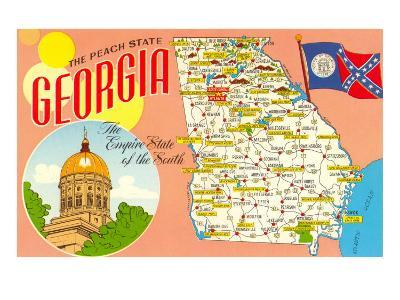 The Peach State, Georgia, Map--Art Print