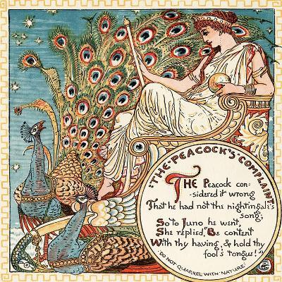 The Peacock's Complaint, Illustration from 'Baby's Own Aesop', Engraved and Printed by Edmund?-Walter Crane-Giclee Print