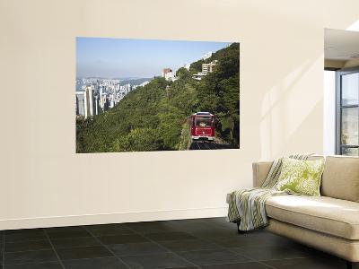 The Peak Tram Ascending Victoria Peak, Hong Kong, China-Ian Trower-Wall Mural