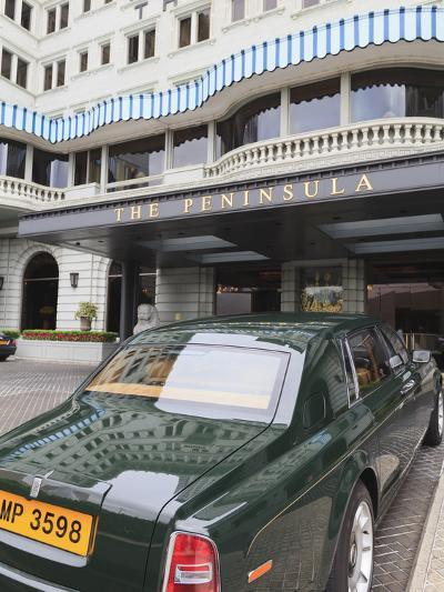 The Peninsula Hotel and One of the Hotel's Fleet of Green Rolls Royces, Hong Kong, China, Asia-Amanda Hall-Photographic Print