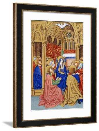 The Pentecost, Miniature from Book of Prayers by Jeanne De Laval, Manuscript--Framed Giclee Print
