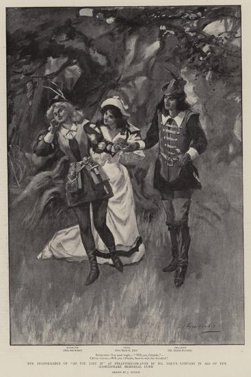 The Performance of As You Like It at Stratford-On-Avon by Mr Daly's Company in Aid of the Shakespea--Giclee Print