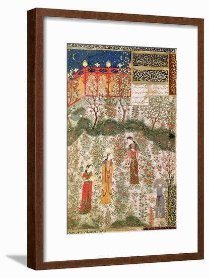 The Persian Prince Humay Meeting the Chinese Princess Humayun in a Garden, circa 1450--Framed Giclee Print