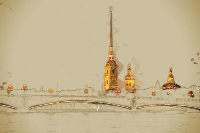 The Peter and Paul Fortress, Saint Petersburg, Russia. Travel Background Illustration. Painting Wit- Romas_Photo-Art Print