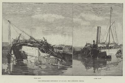 The Petroleum Explosion at Calais, the Wrecked Vessel--Giclee Print