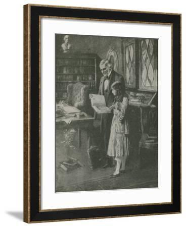 The Philosopher and the Little Girl Among the Books--Framed Giclee Print