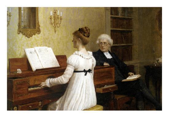 The Piano Lesson-Edmund Blair Leighton-Art Print