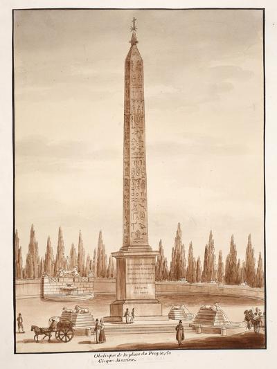The Piazza Del Popolo Obelisk, from the Circus Maximus, 1833-Agostino Tofanelli-Giclee Print