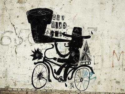 The Picture Shows a Man Who Rides a Bicycle, Looking through a Telescope-Dmitriip-Photographic Print