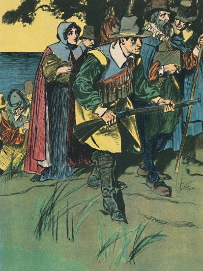 'The Pilgrim Fathers Entering The New World', c1907-Unknown-Giclee Print