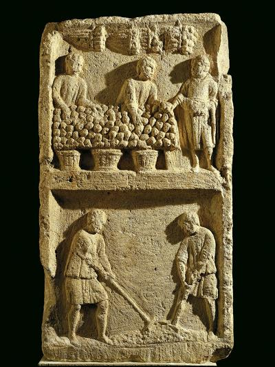 The Pillar of the Farmer, Relief Depicting a Fruit Market and Two Farmers Tilling the Soil--Giclee Print