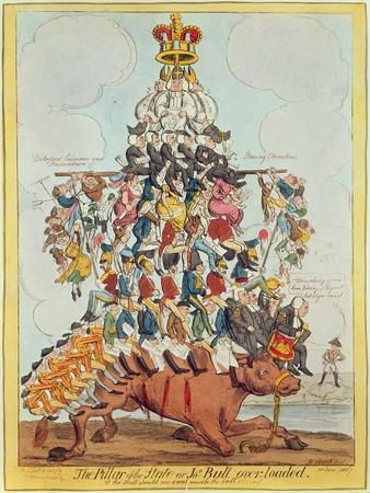 The Pillar of the State, or John Bull Overloaded, after Cruikshank in 1819, 1827-Henry Heath-Premium Giclee Print