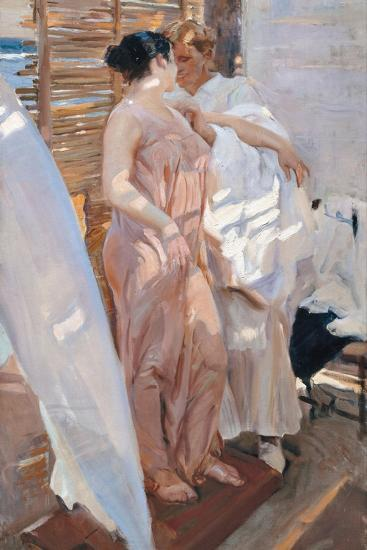 The Pink Robe. after the Bath-Joaqu?n Sorolla y Bastida-Giclee Print