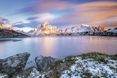 The Pink Sky at Sunrise Illuminates Reine Village. Lofoten Islands Northern Norway Europe-ClickAlps-Photographic Print