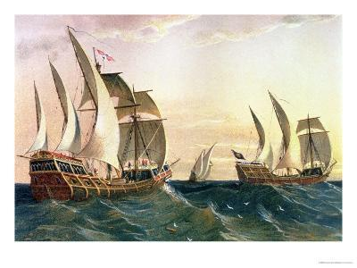 """The """"Pinta,"""" the """"Nina"""" and the """"Santa Maria"""" Sailing Towards the West Indies in 1492--Giclee Print"""