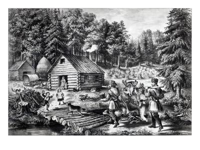 The Pioneer's Home on the Western Frontier, Pub. by Currier and Ives, 1867-American School-Giclee Print